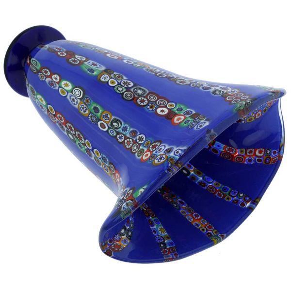 Ventaglio Blue Stripes Murano Glass Millefiori Vase - Large