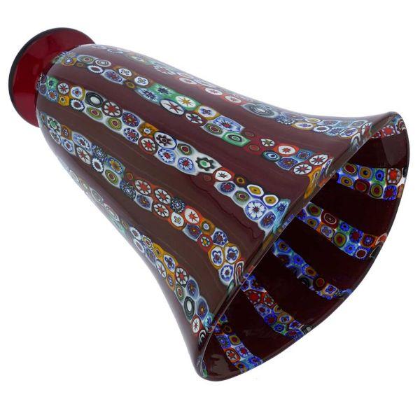 Ventaglio Red Stripes Murano Glass Millefiori Vase - Large