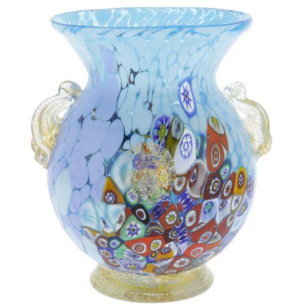 Murano Glass Millefiori Urn Vase With Lion Heads - Aqua