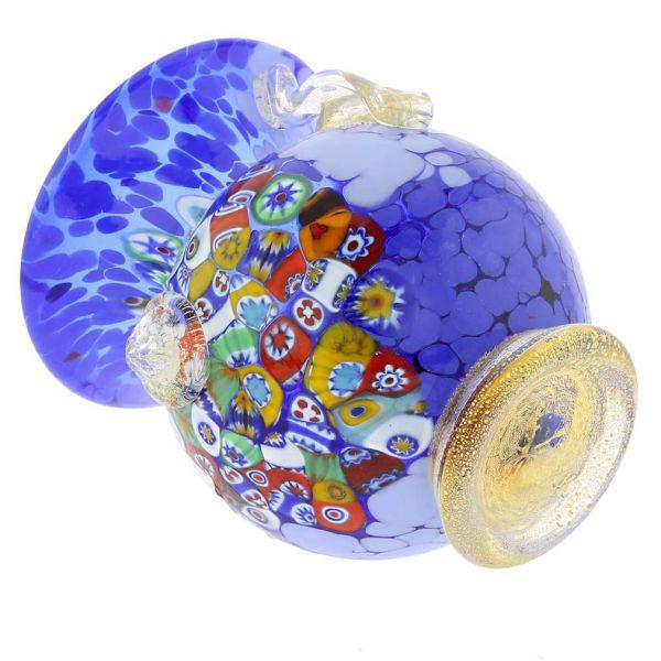 Murano Glass Millefiori Urn Vase With Lion Heads - Blue