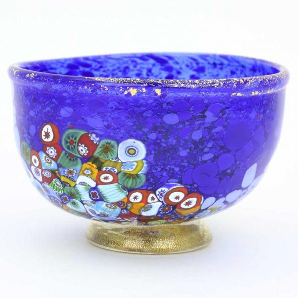 Murano Millefiori Art Glass Bowl - Blue