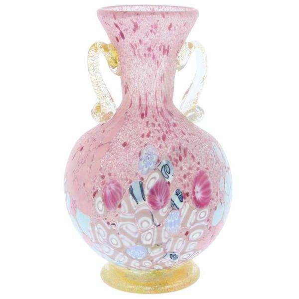Murano Art Glass Millefiori Vase With Golden Handles - Rose