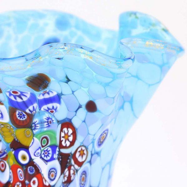 Murano Millefiori Art Glass Fazzoletto Vase - Aqua