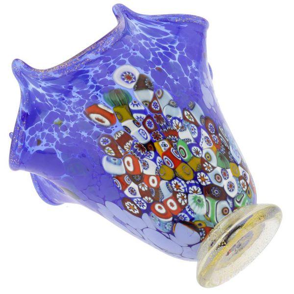 Murano Millefiori Art Glass Fazzoletto Vase - Blue
