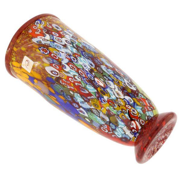 Murano Millefiori Art Glass Vase - Ruby Red