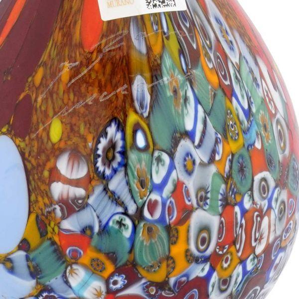 Murano Millefiori Art Glass Calla Lily Vase - Red