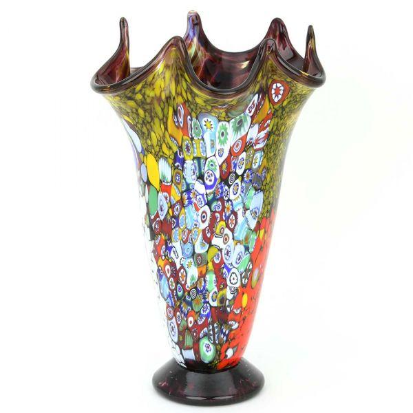 Murano Millefiori Art Glass Fazzoletto Vase - Purple