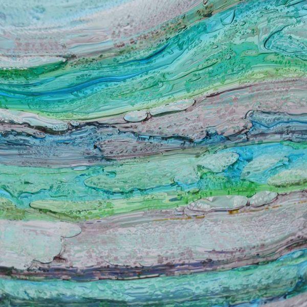 Murano Sbruffo Fazzoletto Bowl - Green Aqua Purple
