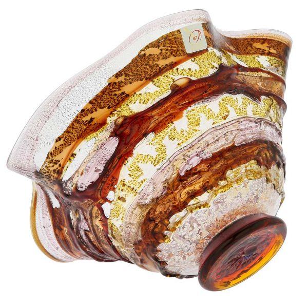 Murano Sbruffo Fazzoletto Bowl - Golden Brown