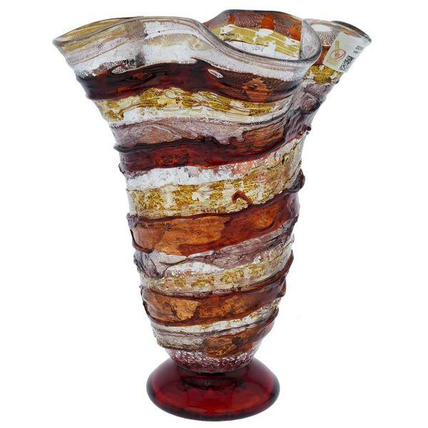 Murano Sbruffo Fazzoletto Vase - Golden Brown Purple