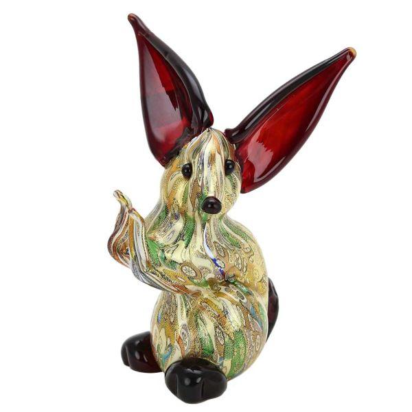 Murano Art Glass Gold Millefiori Rabbit Sculpture