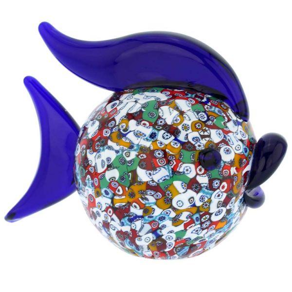 Murano Art Glass Millefiori Fish Sculpture