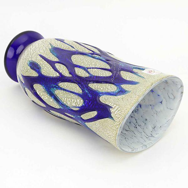 Murano Art Glass Silver Vase - Blue Web