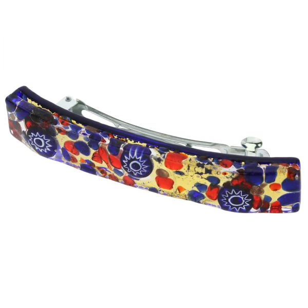 Venetian Reflections Hair Clip - Blue Red