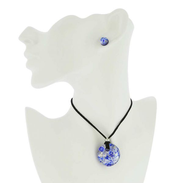 Venetian Reflections Round Necklace and Earrings Set - Periwinkle