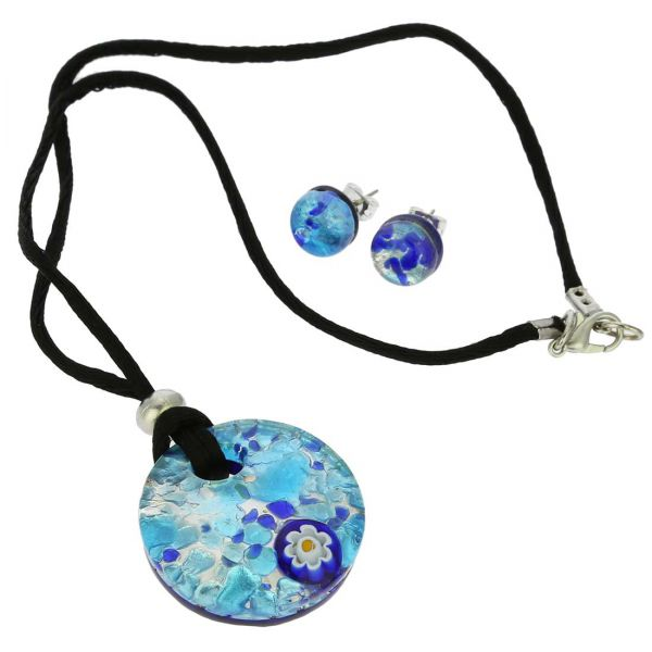 Venetian Reflections Round Necklace and Earrings Set - Aqua Blue