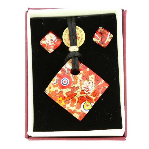 Venetian Reflections Necklace and Earrings Set - Red Gold
