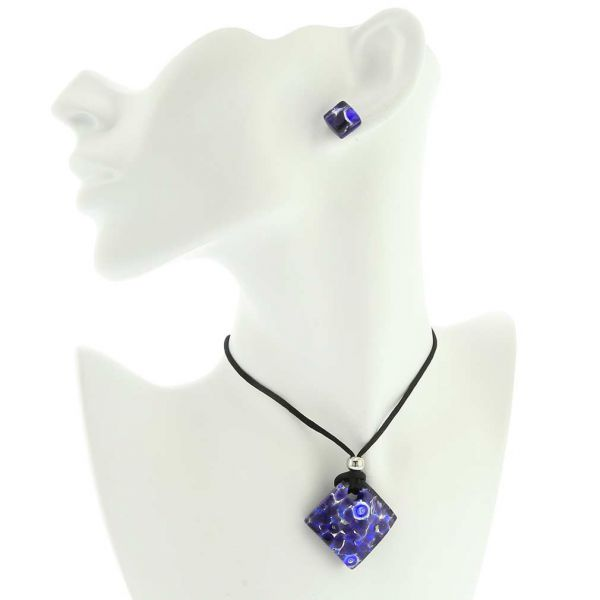 Venetian Reflections Necklace and Earrings Set - Periwinkle
