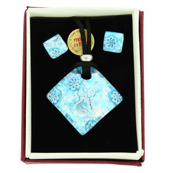Venetian Reflections Necklace and Earrings Set - Aqua Silver