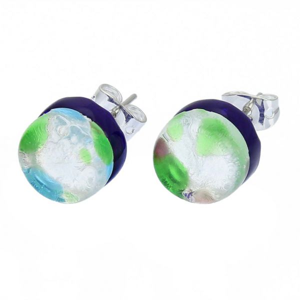 Venetian Reflections Round Stud Earrings - Silver Meadow