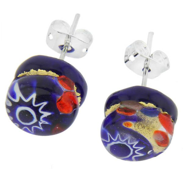 Venetian Reflections Round Stud Earrings - Blue Red