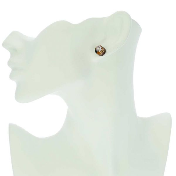 Venetian Reflections Round Stud Earrings - Topaz Gold