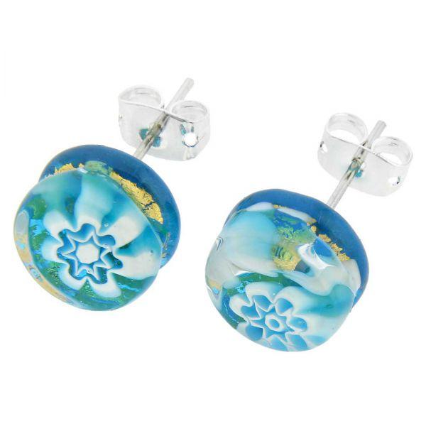 Venetian Reflections Round Stud Earrings - Aqua Gold