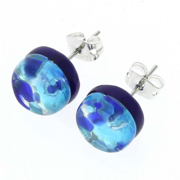 Venetian Reflections Round Stud Earrings - Aqua Blue