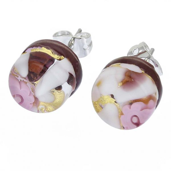 Venetian Reflections Round Stud Earrings - Purple Gold