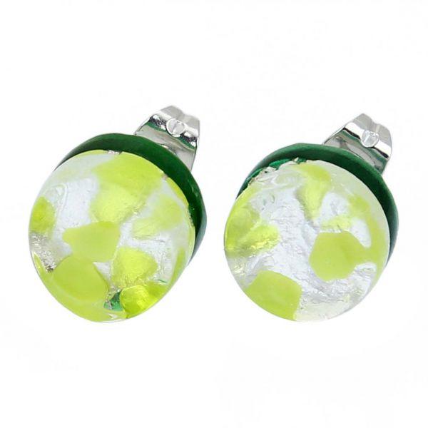 Venetian Reflections Round Stud Earrings - Green Silver