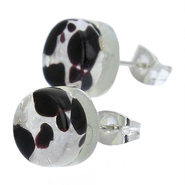 Venetian Reflections Round Stud Earrings - Dark Purple Silver