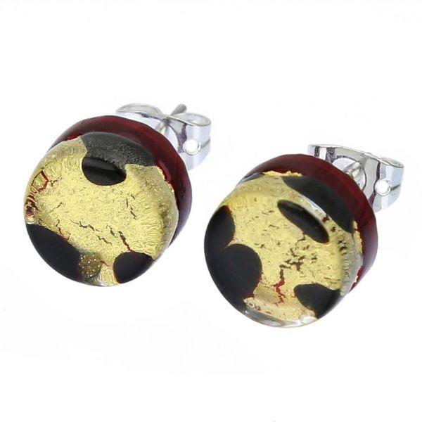 Venetian Reflections Round Stud Earrings - Gold Millefiori