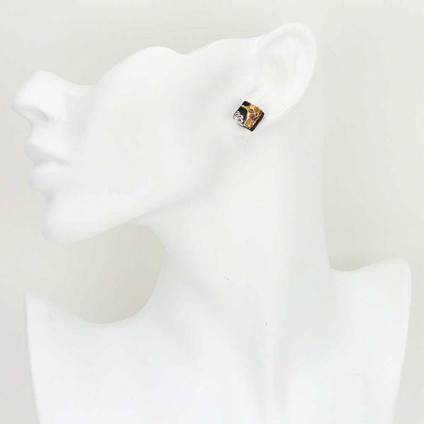 Venetian Reflections Square Stud Earrings - Topaz Gold