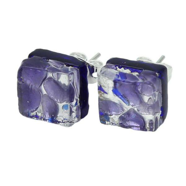 Venetian Reflections Square Stud Earrings - Periwinkle