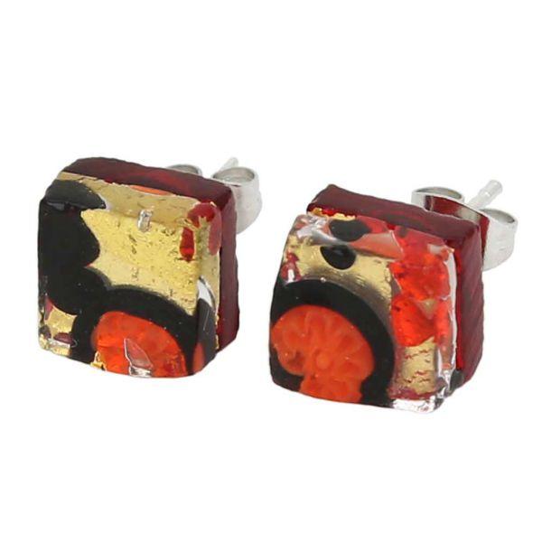 Venetian Reflections Square Stud Earrings - Black Red