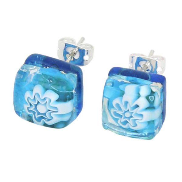 Venetian Reflections Square Stud Earrings - Aqua Silver