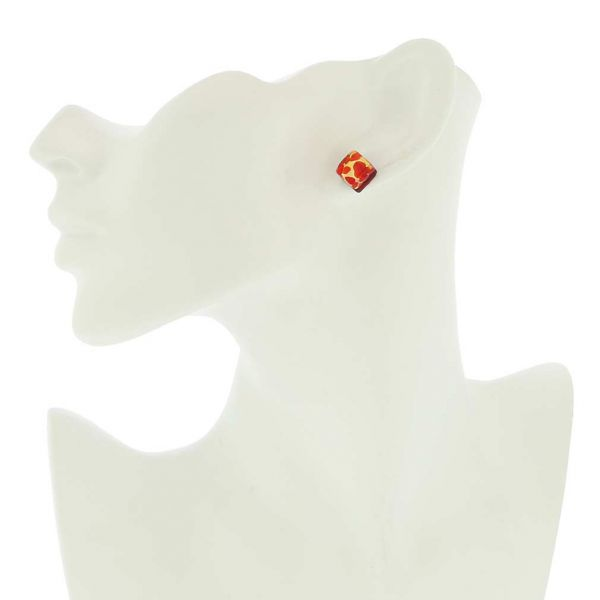 Venetian Reflections Square Stud Earrings - Red Gold