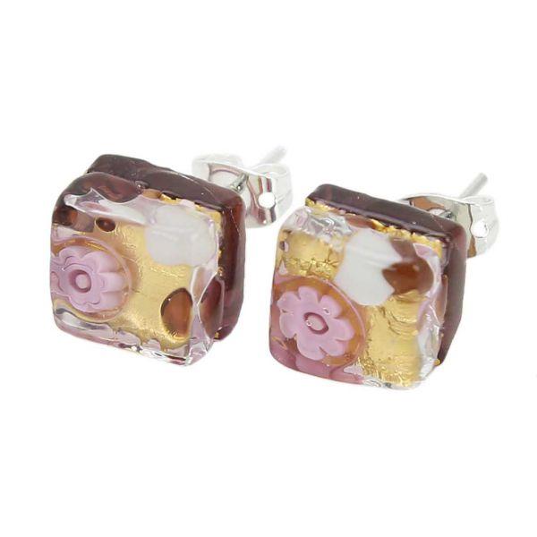 Venetian Reflections Square Stud Earrings - Purple Gold