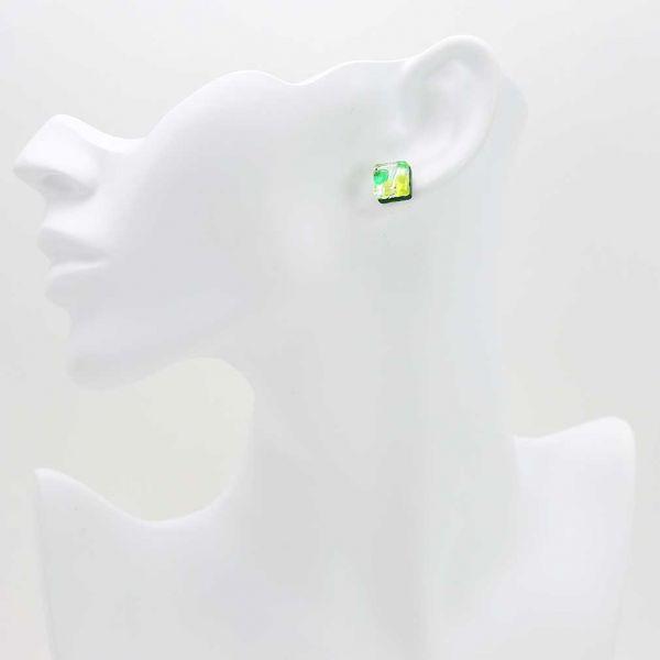 Venetian Reflections Square Stud Earrings - Green Silver