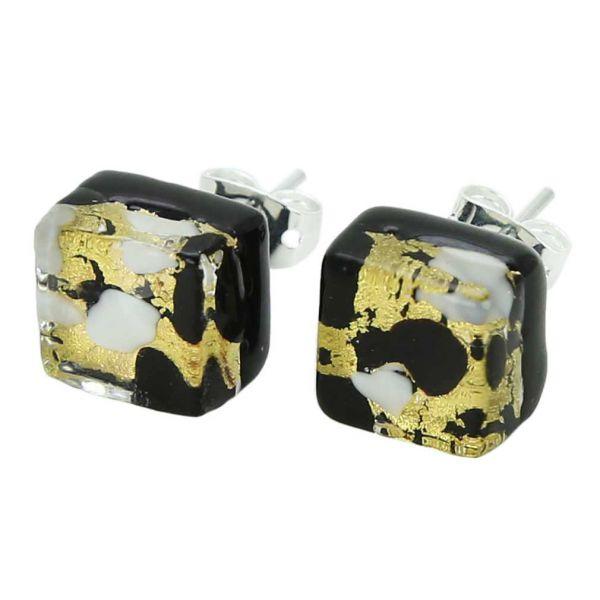 Venetian Reflections Square Stud Earrings - Black Gold