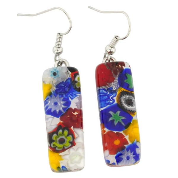 Millefiori Rectangular Earrings - Multicolor