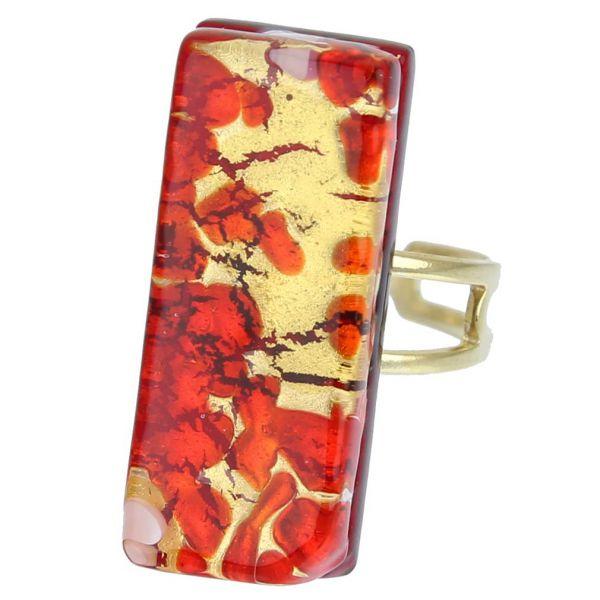 Venetian Reflections Rectangular Ring - Red Gold