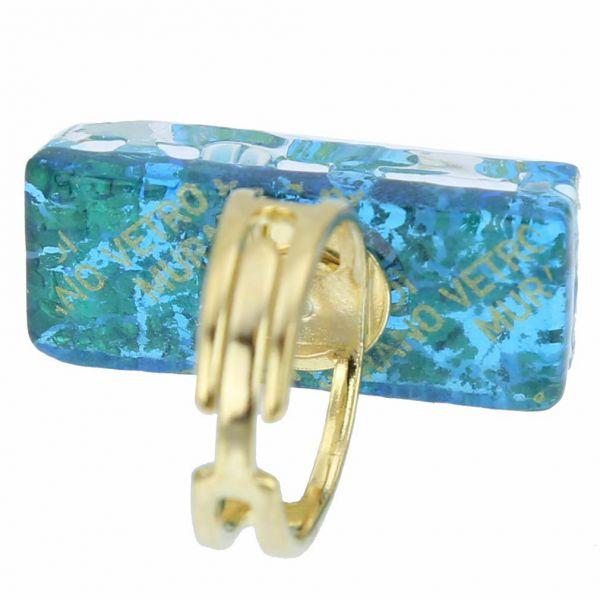 Venetian Reflections Rectangular Ring - Aqua Gold