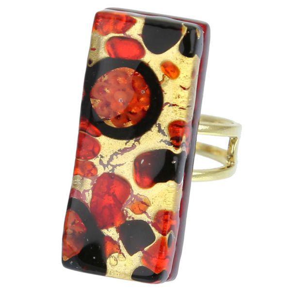 Venetian Reflections Rectangular Adjustable Ring - Black Red