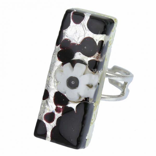 Venetian Reflections Rectangular Ring - Dark Purple Silver