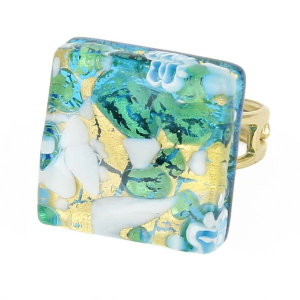 Venetian Reflections Square Adjustable Ring - Aqua Gold