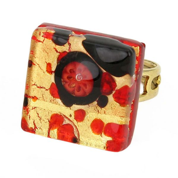 Venetian Reflections Square Adjustable Ring - Black Red