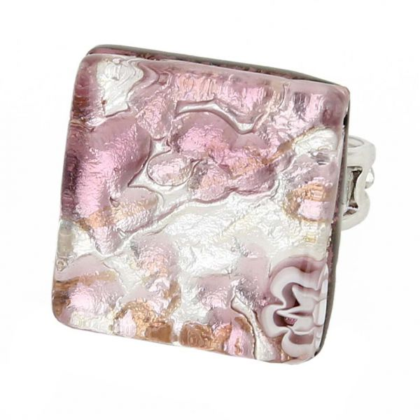 Venetian Reflections Square Adjustable Ring - Purple Silver