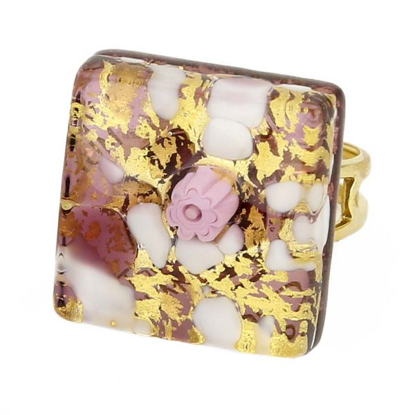 Venetian Reflections Square Adjustable Ring - Purple Gold