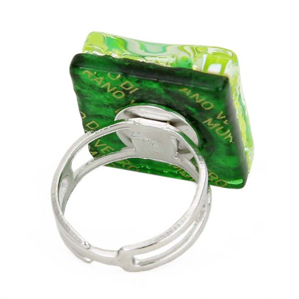 Venetian Reflections Square Adjustable Ring - Green Silver